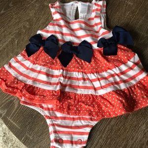 First Impressions dress onesie w bows, size 3-6